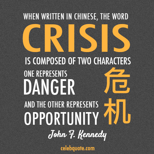 John F. Kennedy Quote (About opportunity danger crisis Chinese words China)
